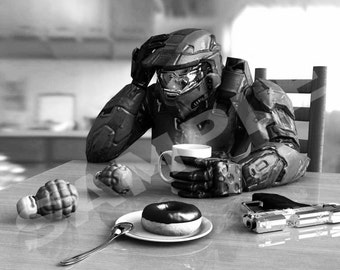 Halo video game art for Home Office  - Mounted Print - 8x 10 or 5x7 - Master Chief