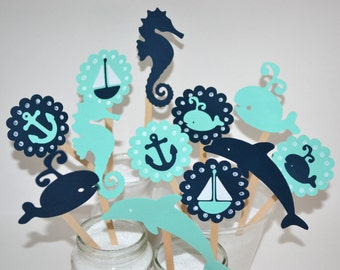 12 Nautical Cupcake Toppers / Sailboat Cupcake Toppers / First Birthday / Nautical Baby Shower/ Whale Cupcake Toppers / Under the Sea Party