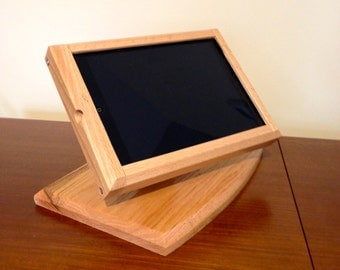 Contemporary  Ipad AIR Desktop Swivel Base Stand for Point of Sale / iPad AIR Cash Register Finished Oak