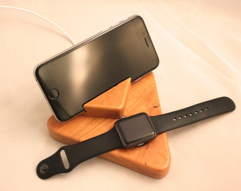 iPhone and Apple Watch Stand / Charging Dock / Charging Station - Cherry