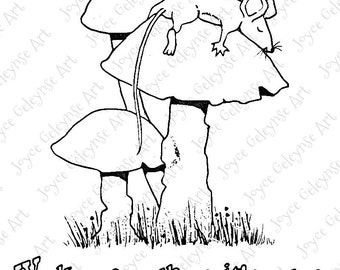 Digi Stamp Clip Art, Embroidery Design: Wake Me When It's Over, Cute Mouse Sleeping on Toadstool, Commercial Use, INSTANT DOWNLOAD