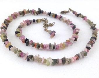 Tourmaline gemstone necklace, multi colored tourmaline, simple gemstone necklace, boho style