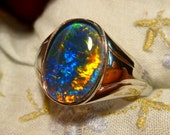 Mens Opal Ring Sterling Silver, Natural Opal Triplet. 14x10mm Oval . item 110048.