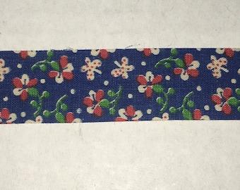 "Floral Blue Decorative Ribbon 15/16"" Width Trim 100% Cotton Spring Bows Scrapbook 1 Yard"