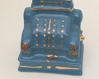 Limoges Miniature Trinket Porcelain Cash Register Hand Painted Collectible Figurine Dollhouse VINTAGE France