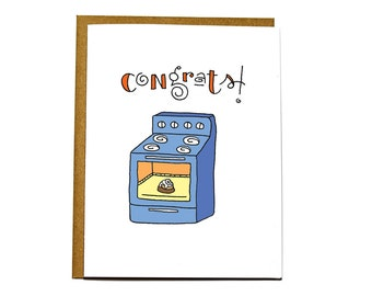 Funny new baby card - congrats on your bun in the oven!