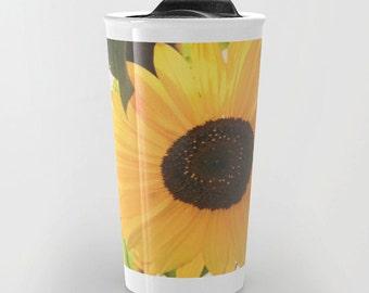Travel Coffee / Tea Mug - Yellow Flower - Sunflower - Floral - Colorful - Drinkware - Nature
