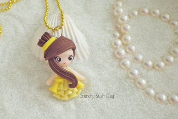 LIMITED EDITION Belle Necklace, Princess, Polymer Clay Pendant, Necklace, polymer clay, clay pendant, Kawaii, doll, charm, Christmas
