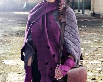 Felted Scarf Purple Handmade in Ireland from Superfine Merino Wool