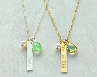 Vertical Bar Necklace, Birthstone pearl necklace, nameplate Necklace, Custom bar necklace, personalized name necklace, bridesmaid necklace