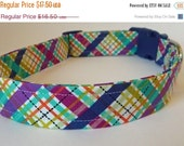 "Sale 50% Off Navy,Turquoise & Magenta Plaid Dog Collar -""Jeffrey"" - NO EXTRA Charge for colored buckles"