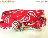 """Sale 50% Off Dog Leash to go with Dog Collar - Red Paisley - """"Sending My Love"""""""