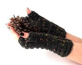 SALE - 25% Off! Knit Fingerless Gloves. Dark Gray Gloves with Colored Speckles. Warmer Gloves. Knitted Wrist Warmers. Knit Arm Warmers.