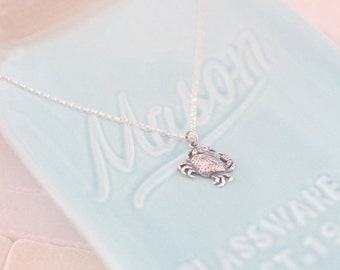 Crab Charm Necklace -  Silver Crab -  Ocean Theme - Blue Crab Jewelry - Ocean Charm - Crab Lover Gift - Crab Jewelry - Crabby Gift - Crab