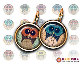 SUMMER OWLS - 15mm and 12mm size Printable Download for earrings cuff links pendants bracelets rings Digital Collage Sheet Instant Download