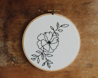 Poppy Botanical Embroidery Hoop Art