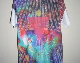 Galaxy Shirt Red-Green Cosmic Space Shirt Men Tee T Shirt Tshirt Shirts M