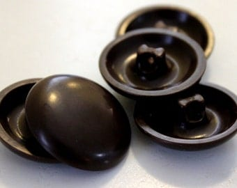 Vintage large Brown buttons. 5 pieces. 1 1/4 inch diameter. self shank. plastic 1940's. coat buttons sewing notions supplies