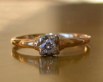 DEADsy LAST GASP SALE Antique Vintage Diamond Solitaire Engagement Ring // Yellow 14K Gold Diamond Ring // 1/4 ct. Diamond Solitaire