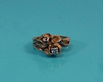 DEADsy LAST GASP SALE Vintage Antique .20ct Diamond 14K Engagement Ring // Rose Bouquet Flower Ring // Delicate Petal and Leaf Natural