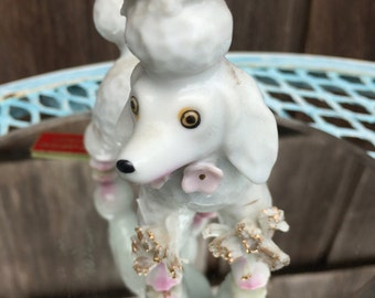 Mid century china poodle dog figurine, extruded spaghetti trim, cold painted, applied flowers, Made in Japan, 1950's-'60's era