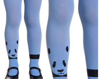 Cute Panda Print Tights for girls | baby tights | black tights | Black panda print on sky blue tights | S/M/ Free Shipping| K232-SBB