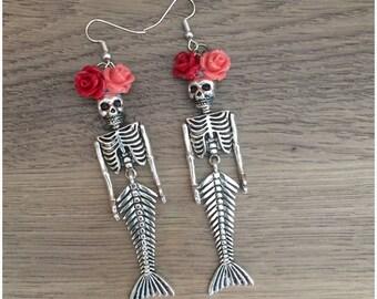 Mermaid Sirena Loteria Skeleton Flower Crown Day of the Dead Earrings