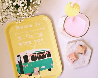 Home is where I am with you - yellow caravan rectangular birchwood tray