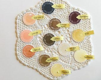 Handmade embellishments mini doilies in earth tones, set of 12