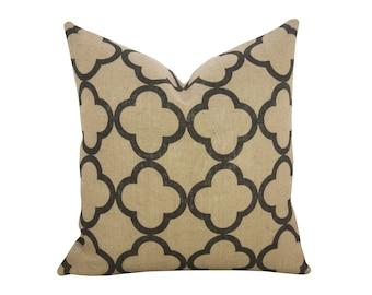 Quatrefoil Burlap Pillow, Industrial Decor, Black