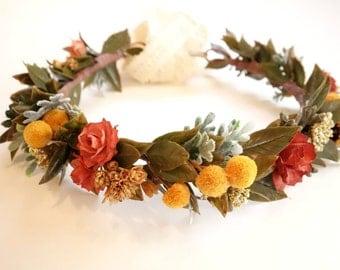 Fall Flower Crown, Fall Bridal Crown, Rustic Floral Crown, Dried Flower Crown, October Wedding, Fall Head Wreath, Photo Shoot