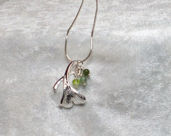 Sterling Silver Ginkgo Leaf with Aventurine, Jade, and Peridot