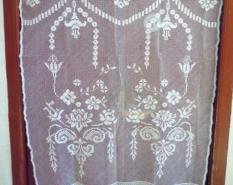 Handmade crochet curtain - Cottage chic - Meditarrenean style - 0001644- 0001643