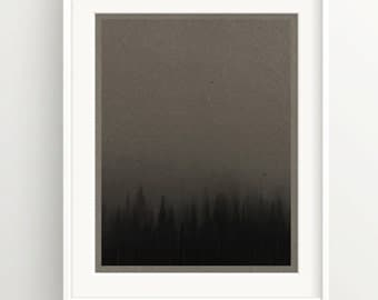 Dark Forest Print - Trees in the Fog - brown kraft paper - Art Print - Brown Rugged Hipster