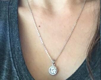 Bridal Necklace- Cubic Zirconia Necklace- Wedding Necklace- Halo Necklace- Bridesmaid Necklace- Gemstone Necklace- Bridal Jewelry