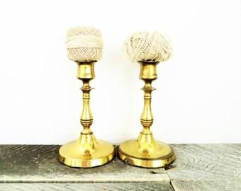 Vintage Brass Candlesticks - Matching Pair - Perfect Patina - Brass Decor