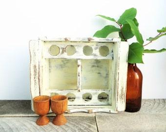 Cutlery Holder - Vintage Ivory - Modern Farmhouse Kitchen - Wooden Cutlery Caddy