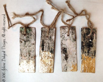 Rustic Birch Gift Tags with Gold Leafing - Set of 4