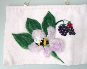 Bee and Blackberry, fibre art, needle felted art, ecofriendly artwork, wool picture, nature, apiary