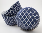 Navy Quatrefoil cupcake liners (approx 40 ct) - baking muffin cups greaseproof bulk cupcake papers