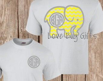Monogrammed chevron elephant short sleeve shirt