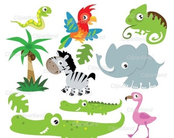 ON SALE INSTANT Download Jungle animals 14. Personal and commercial use.