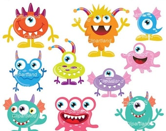 ON SALE INSTANT Download. Cm_24_monsters. Cute monsters clip art. Personal and commercial use.