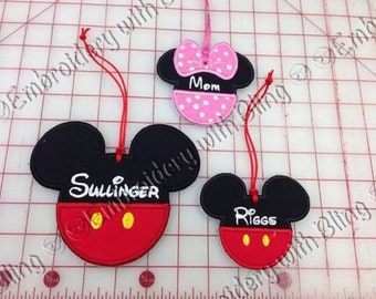 Mickey or Minnie Mouse Luggage Tags