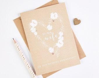 Wife Wedding Anniversary Card Kraft Blush Floral