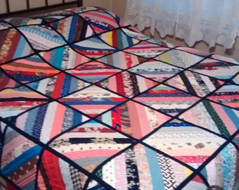 """New Handmade Strip Quilt """"Queen"""" 94 X 82 patchwork, multi-color"""