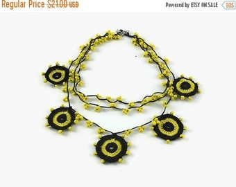SALE 20% Crochet Necklace Yellow and Black motifs Layered Crochet Necklace Beaded Necklace Knitted textile Jewelry Summer Necklace