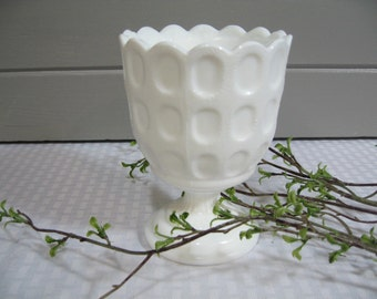 Thumbprint Milk Glass Compote,  Milk Glass Compote,  Mothers Day, Birthday, Wedding