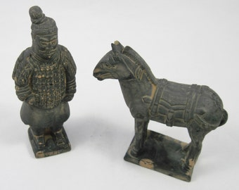 Xian Warrior and Horse, 3rd Century Find, Terra Cotta, Good Luck and Protection