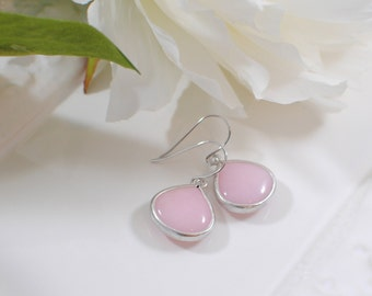 The Sharon Earrings - Silver/Pink Ice